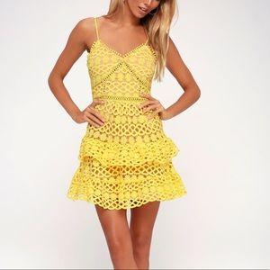 Lulus Yellow Crochet Lace Mini Dress